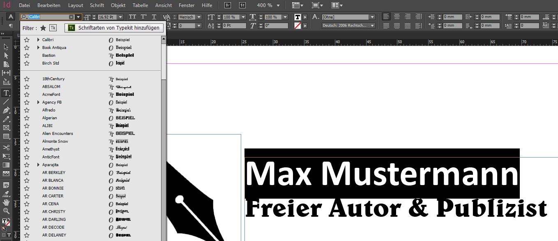 Screenshot einer InDesign Datei. Ein Text bekommt eine neue Schriftart