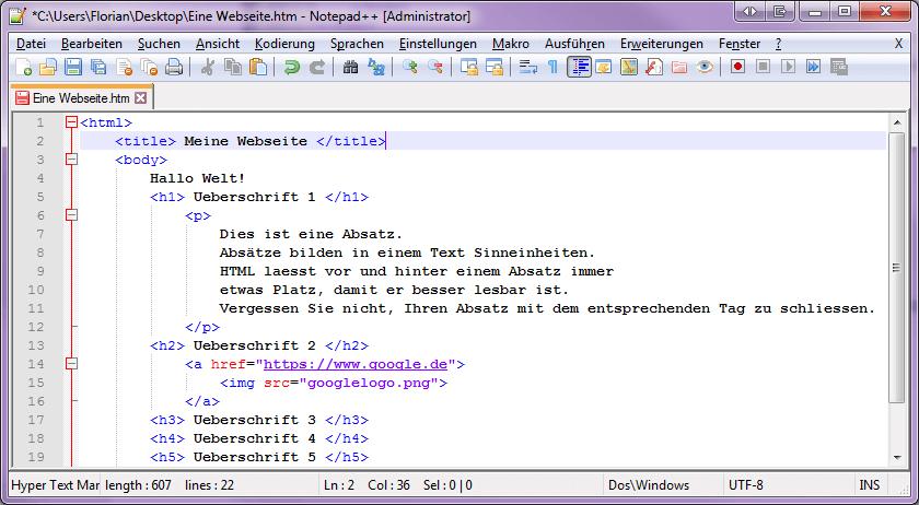 Zeigt HTML Code, geschrieben im Notepad