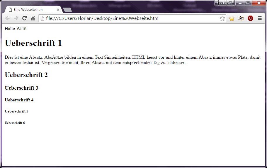 Zeigt einen Browser der den geschriebenen HTML Code interpretiert