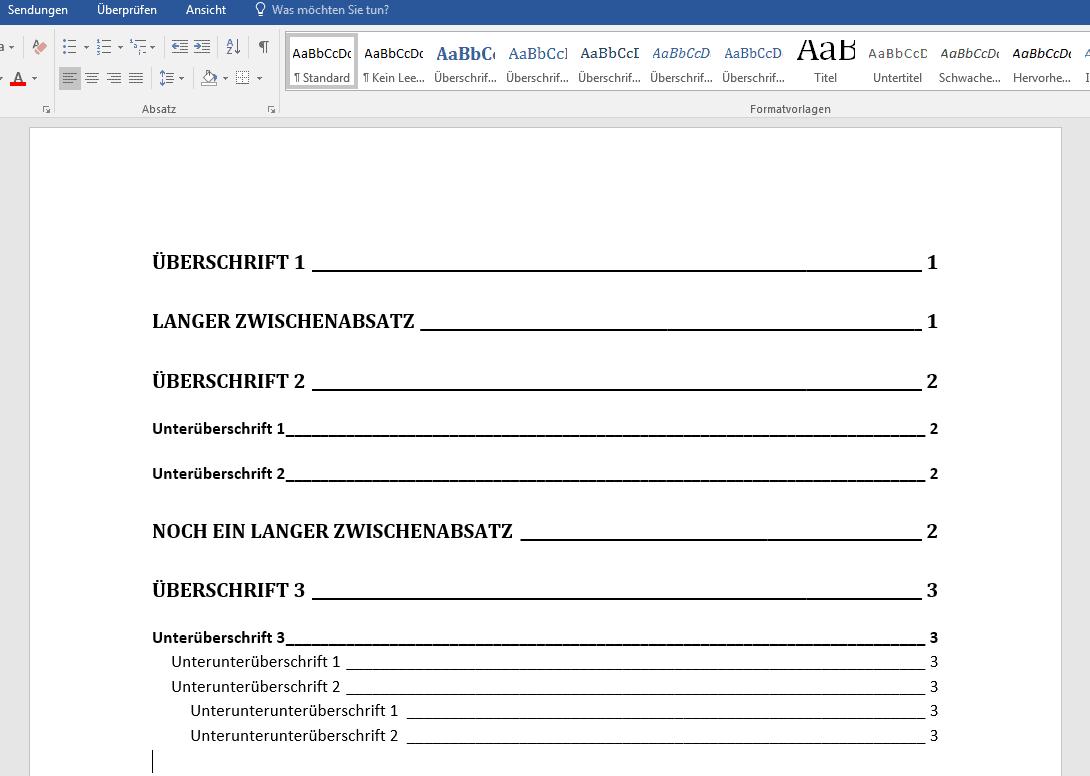 Word Inhaltsverzeichnis Anlegen