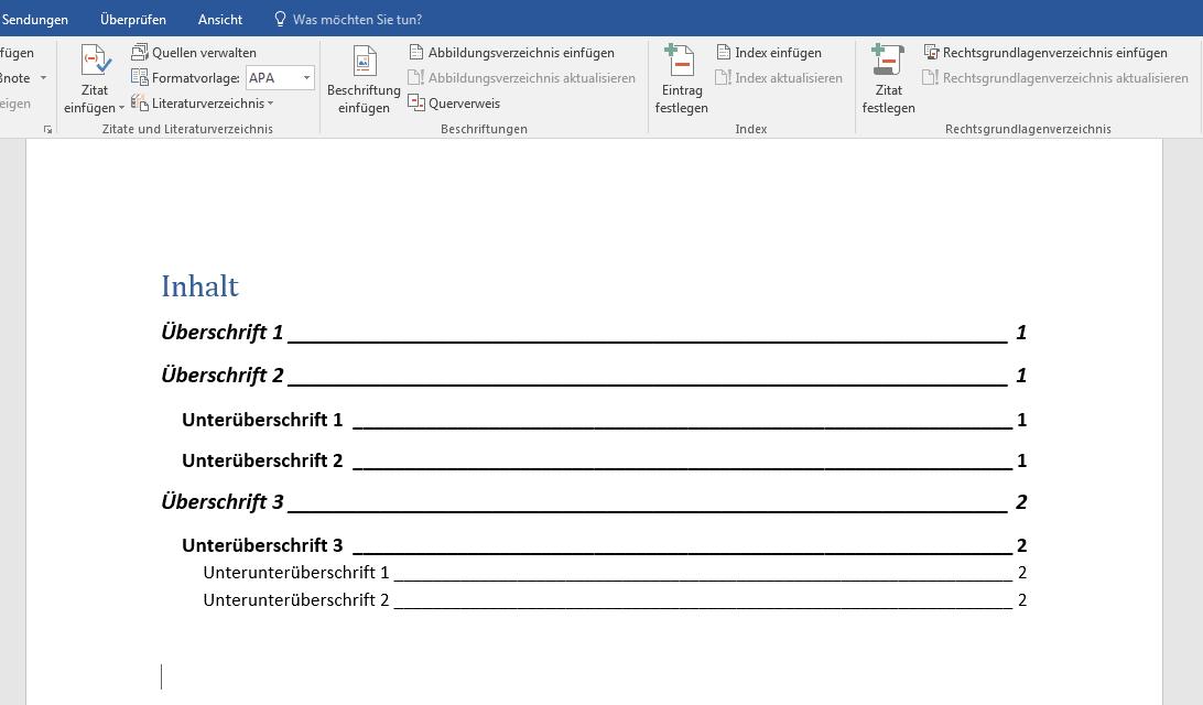 Inhaltsverzeichnis Anlegen Word