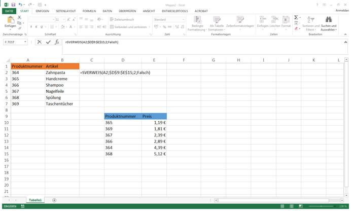 SVerweis Microsoft Excel, wahr/falsch