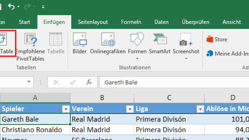 Zeigt den PivotTable Button in Excel