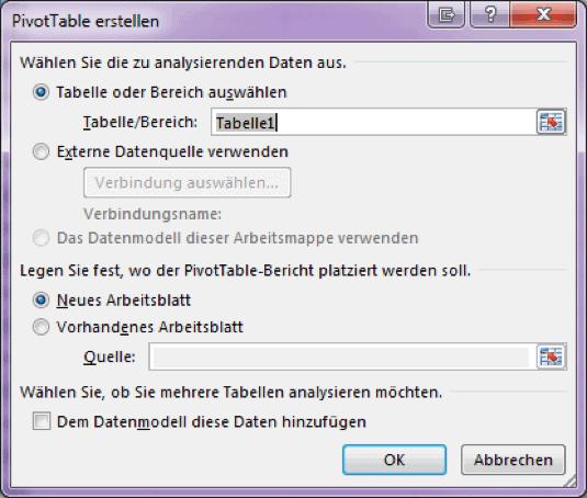 Zeigt das PivotTable ersellen Fenster von Excel