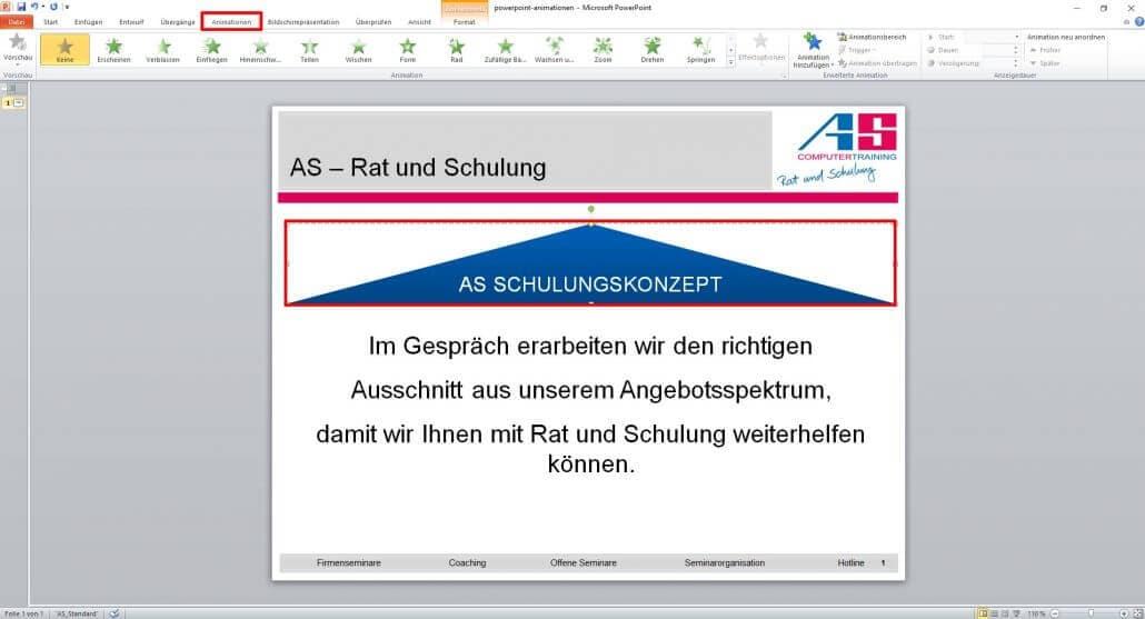 Animationseffekte in PowerPoint anwählen