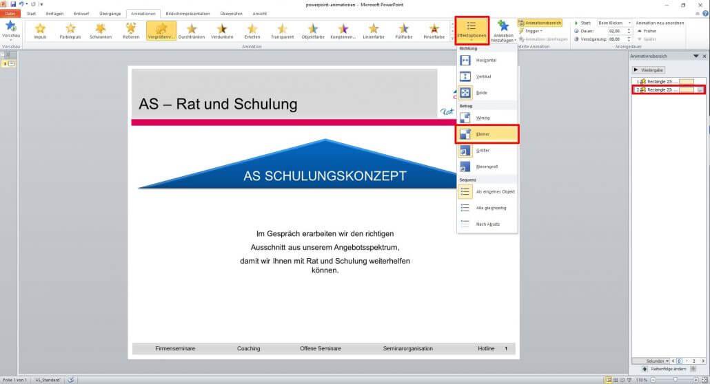 verkleinerte Textzeile in PowerPoint