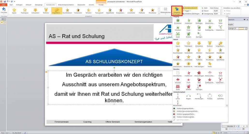 weitere Animationen bei PowerPoint hinzufügen