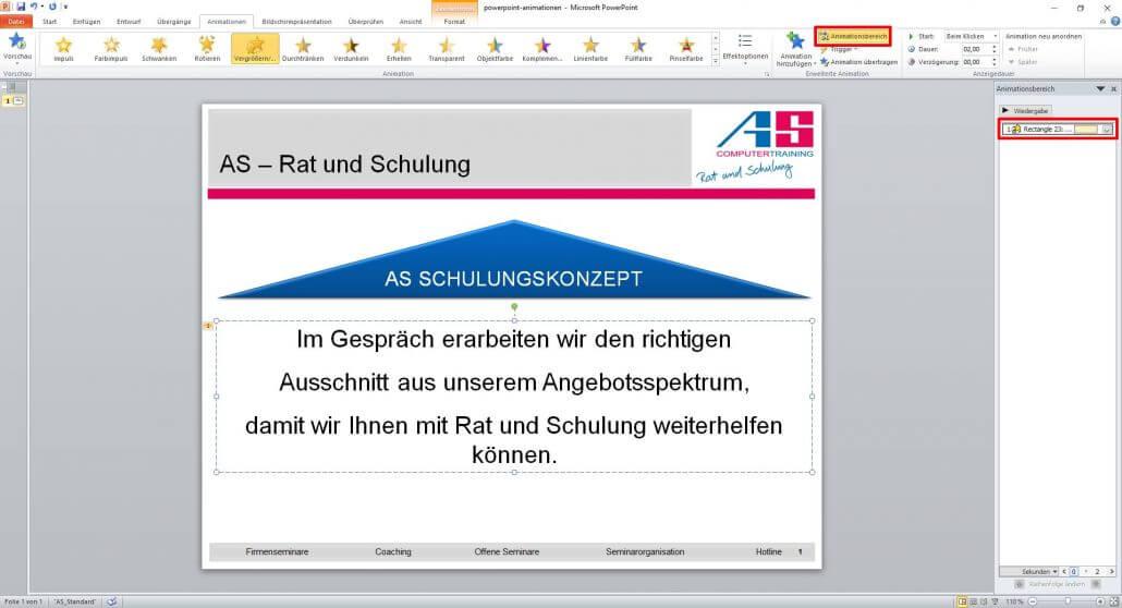 Animationsbereich bei PowerPoint anzeigen