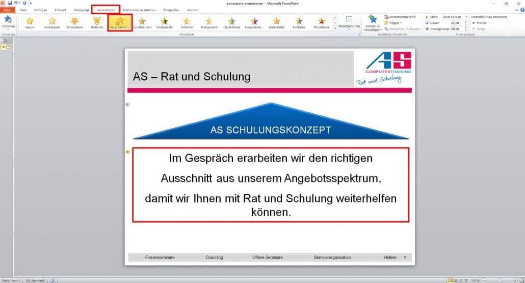 Textzeile bei PowerPoint vergrößern