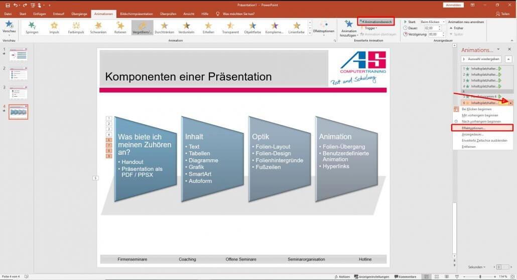 PowerPoint-Animationen zusätzlichen Verkleinerungseffekt hinzufügen