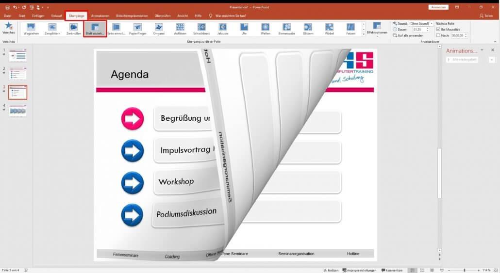 PowerPoint Folien-Übergänge einstellen
