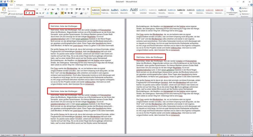 Word-Dokument Textelemente unterstreichen