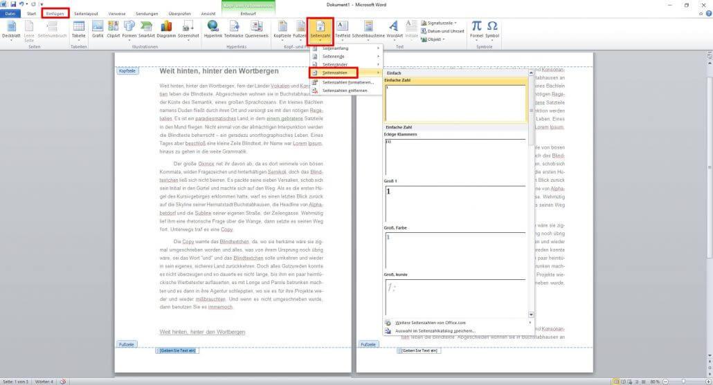 Word-Dokument Seitenzahlen einstellen