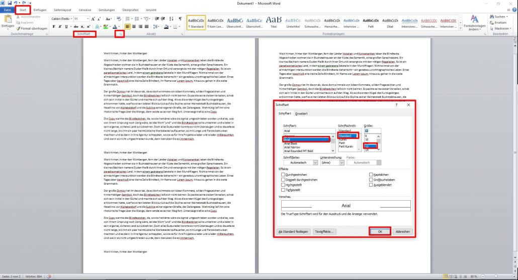 Word-Dokument Schriftart formatieren