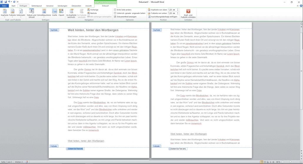 Word-Dokument Fußzeile bearbeiten