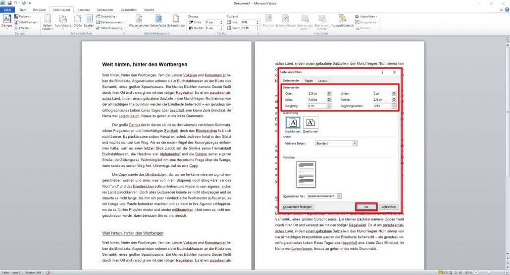 Word-Dokument benutzerdefinierte Seitenränder