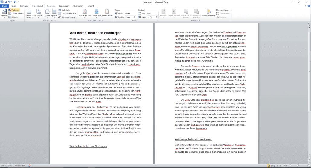 Word-Dokument formatierte Seitenränder