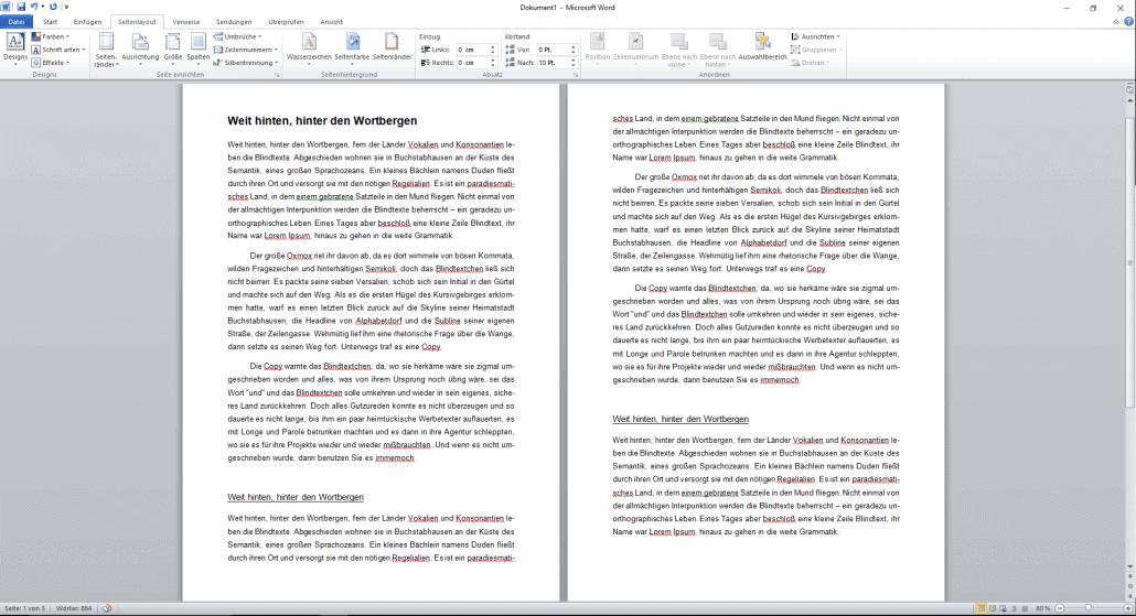Word-Dokument Silbentrennung