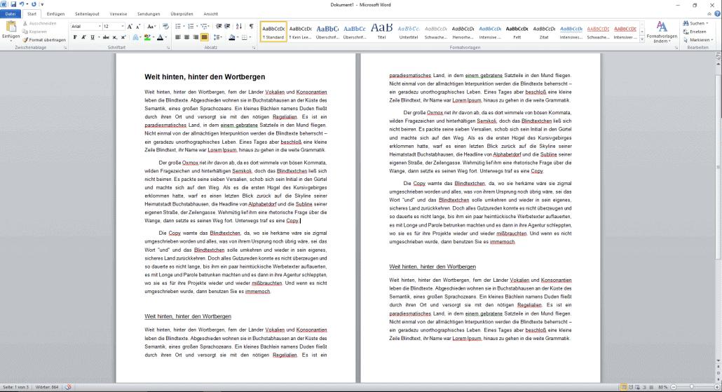 Word-Dokument ohne silbentrennung