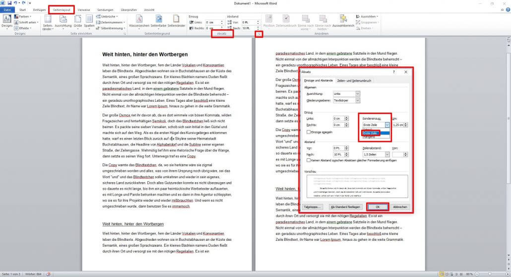 Word-Dokument Absätze einrücken