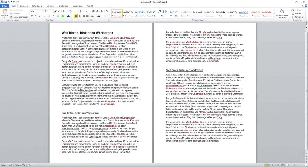 Word-Dokument Überschriften formatieren