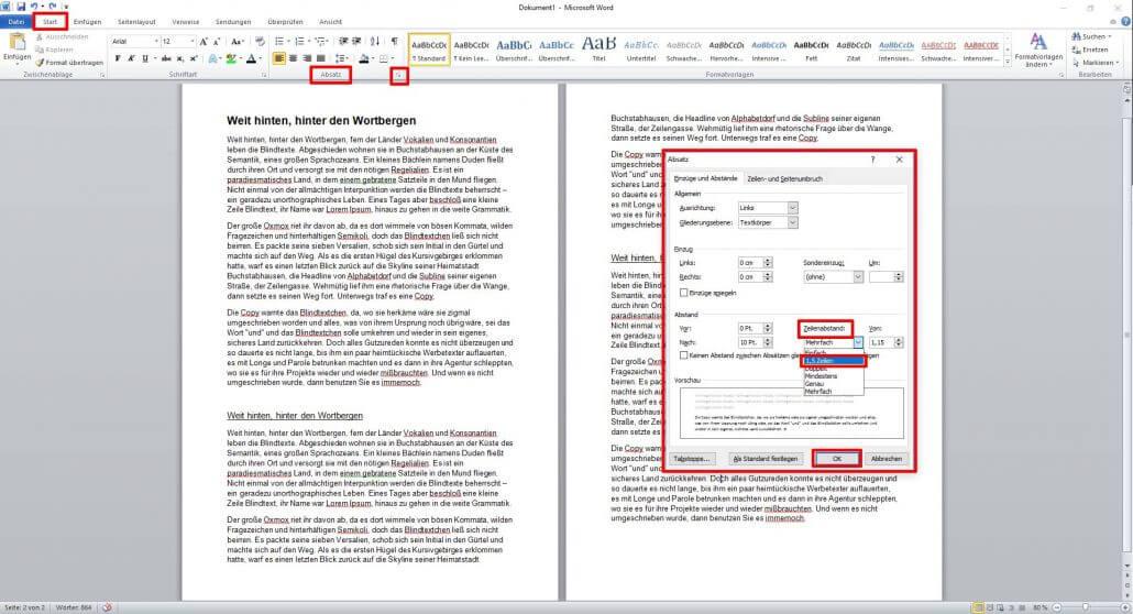 Word-Dokument Absätze formatieren