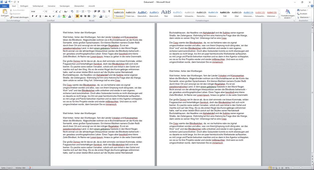 Word-Dokument Schriftgröße ändern
