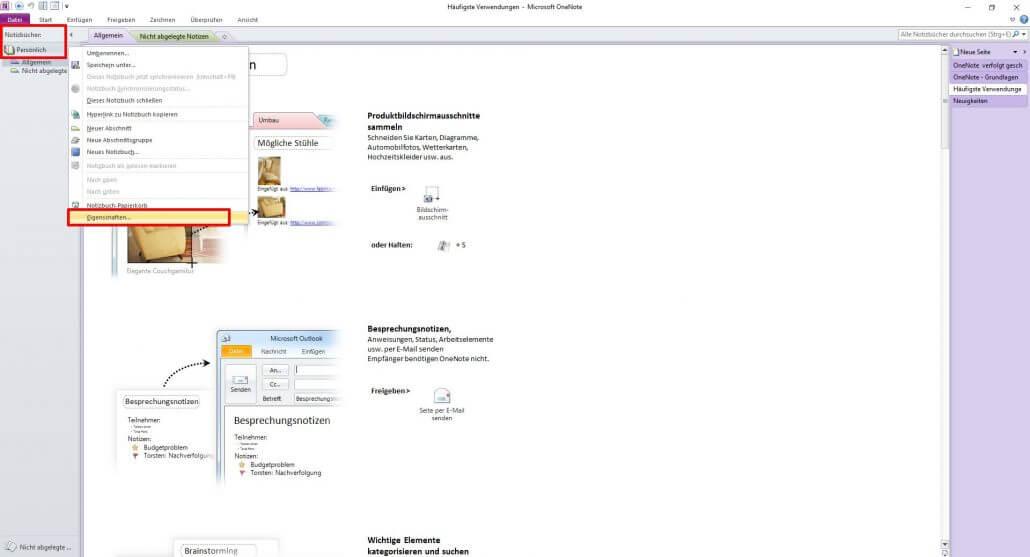 Microsoft OneNote Funktionen - Eigenschaften