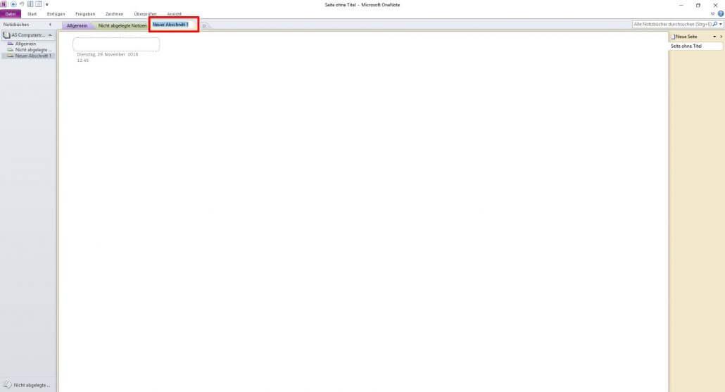 Microsoft OneNote - leerer Abschnitt