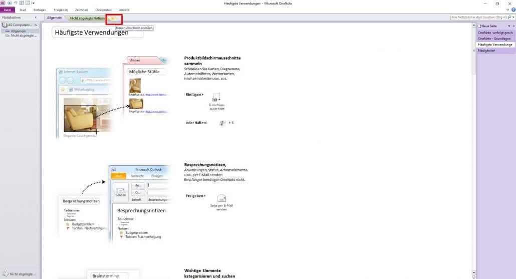 Microsoft OneNote - Neuen Abschnitt erstellen