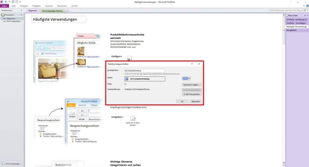 Microsoft OneNote Notizbucheigenschaften