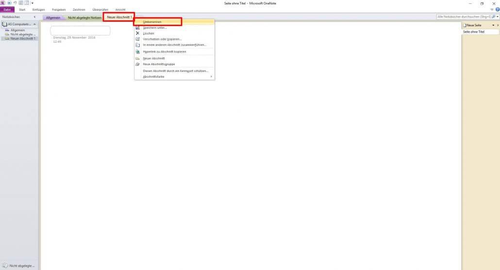 Microsoft OneNote - Registerkarte Umbenennen