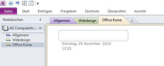 Microsoft OneNote - Registerkarten