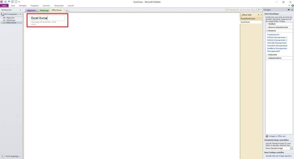 Microsoft OneNote - Seitentitel vergeben