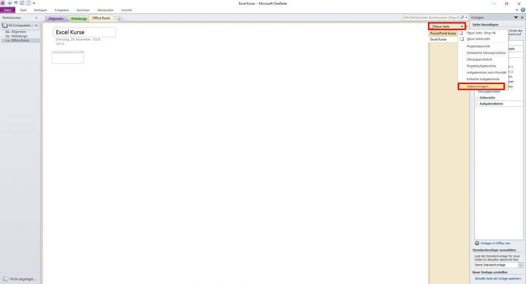Microsoft OneNote - Seitenvorlagen auswählen