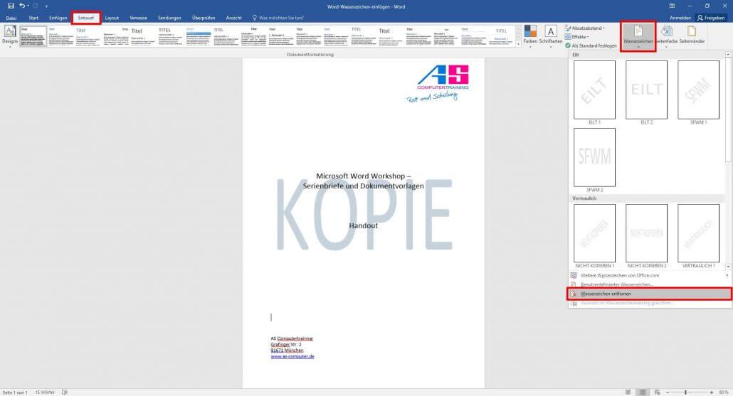 Microsoft Word: Wasserzeichen entfernen