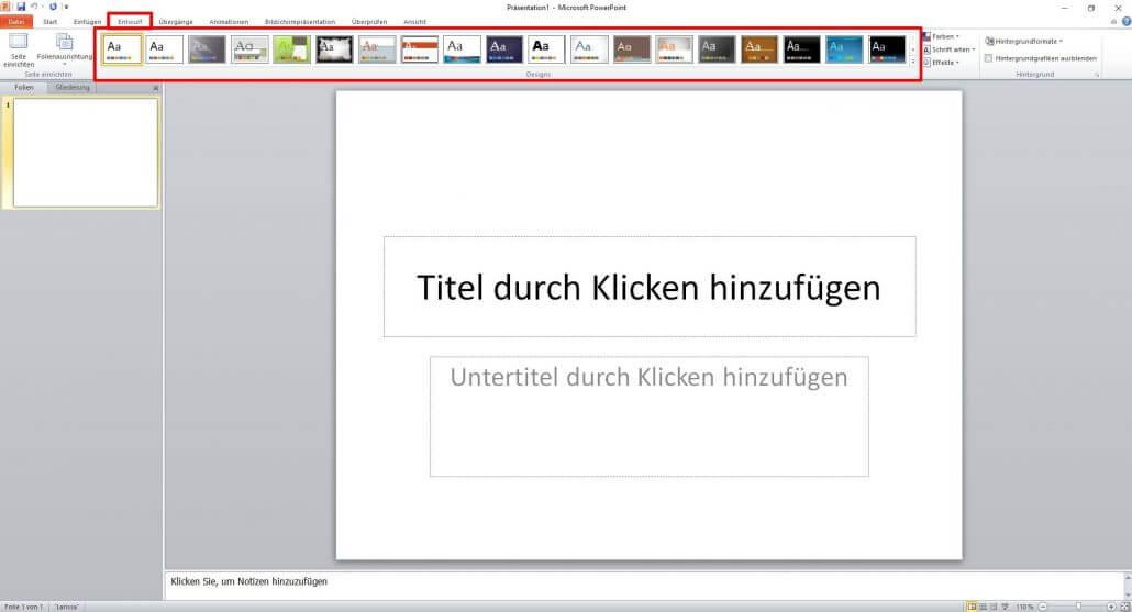 PowerPoint Entwurf auswählen