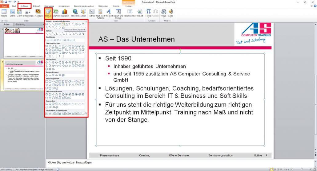 PowerPoint Formen auswählen