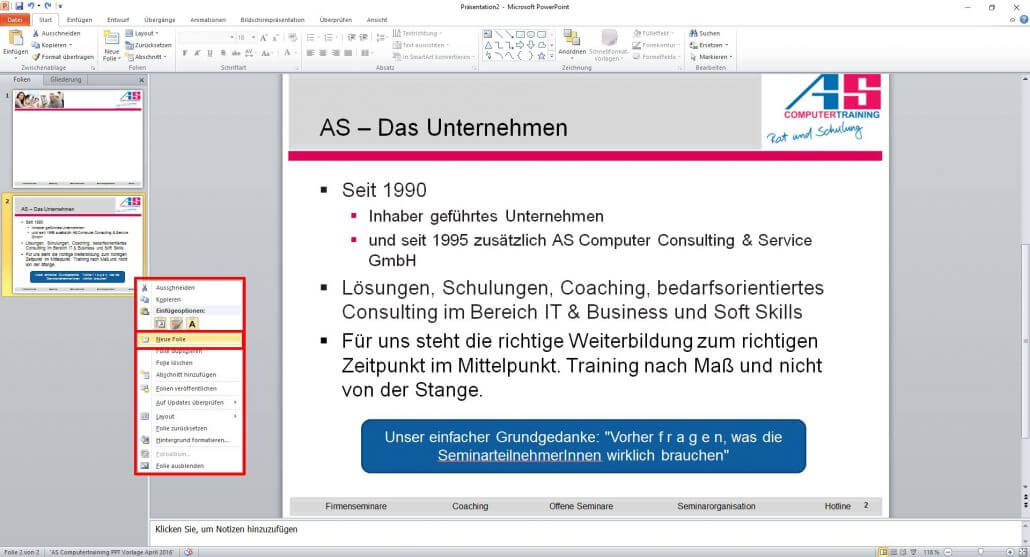 PowerPoint neue Folie hinzufügen