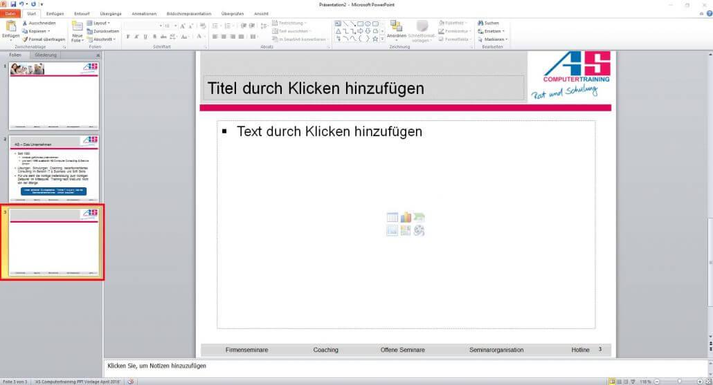PowerPoint neue Folie erstellt