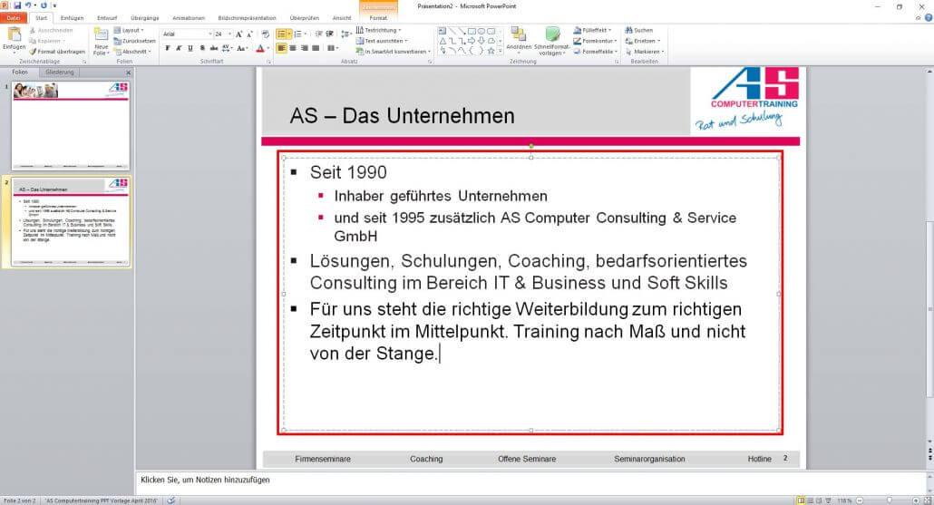 PowerPoint Textfeld bearbeiten