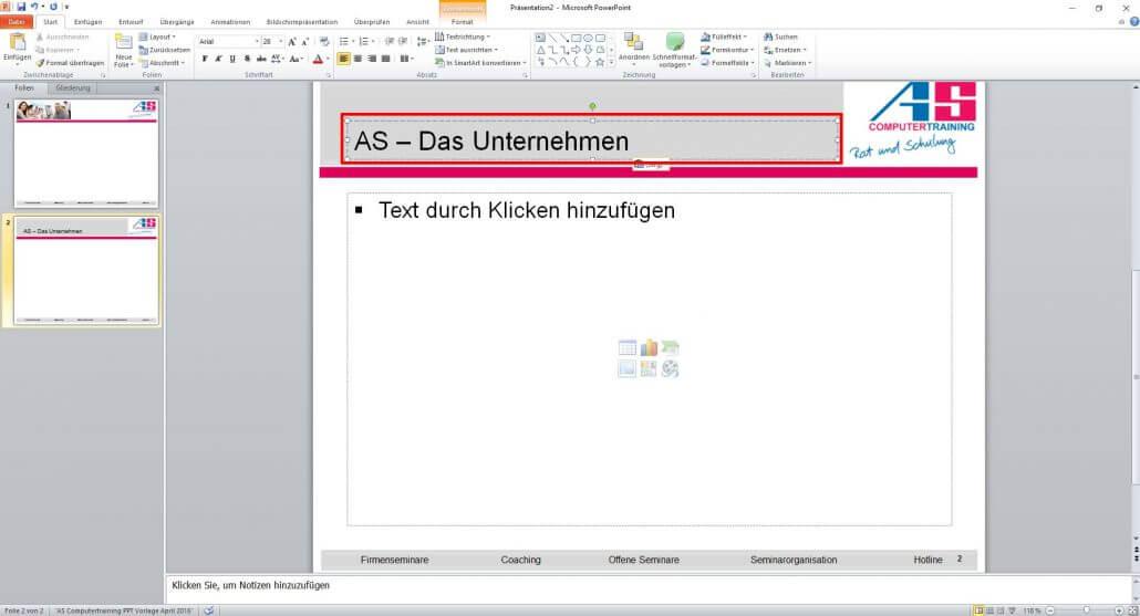 PowerPoint Titel bearbeiten