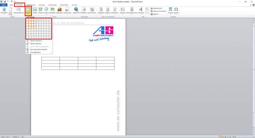 tabellen erstellen in word eine anleitung as computertraining. Black Bedroom Furniture Sets. Home Design Ideas