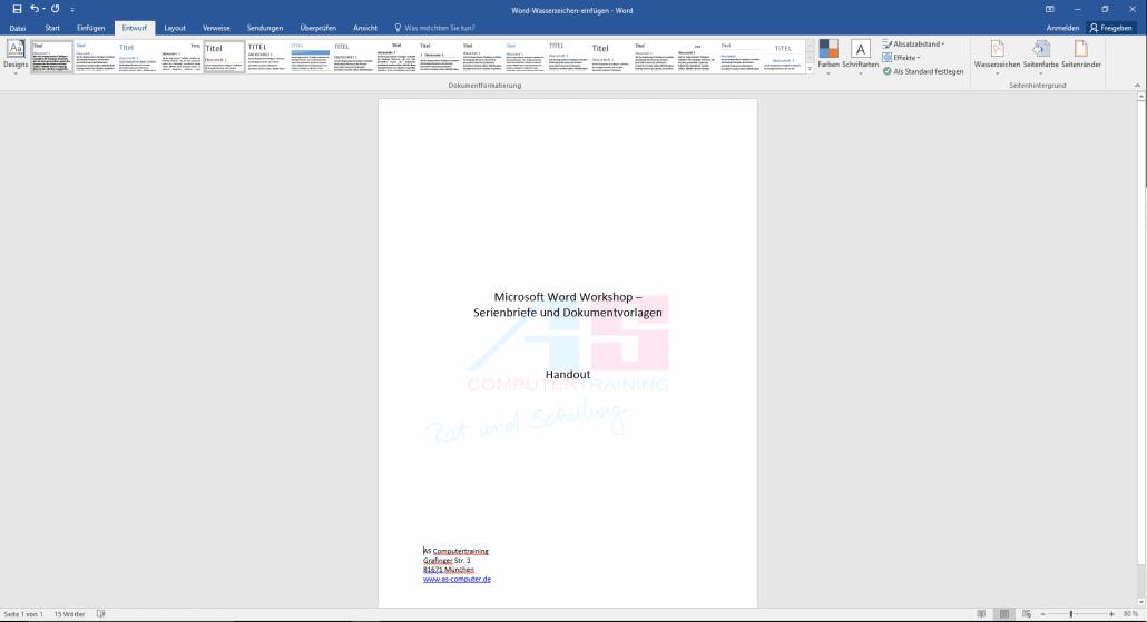 Word-Dokumente mit Bildwasserzeichen