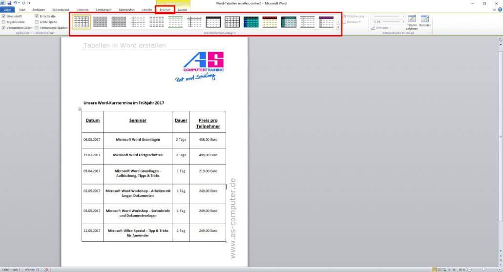 Tabellen erstellen in Word - Eine Anleitung | AS Computertraining