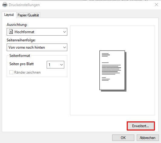 PDF-Druckeinstellungen erweitert