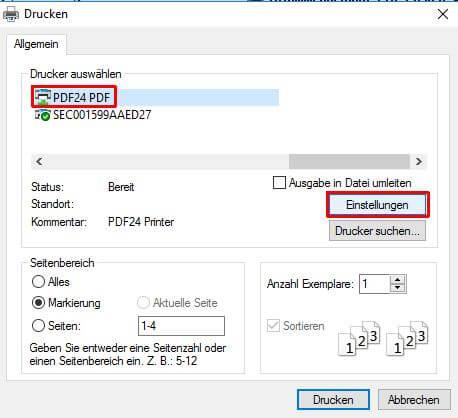 PDF-Drucken.Einstellungen