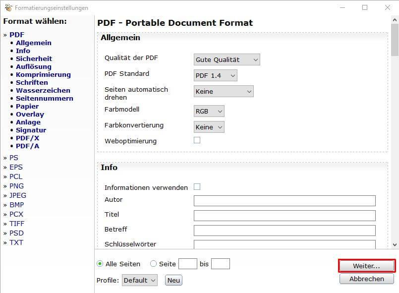 PDF24-Dokument abspeichern