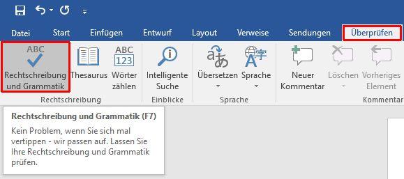 Word Rechtschreibung und Grammatik prüfen