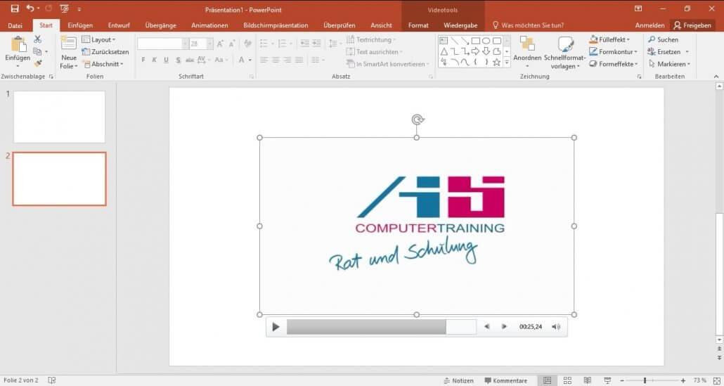 PowerPoint-Video verschieben und skalieren